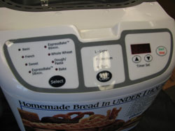 Oster EXPRESSBAKE 5838 Bread Machine control panel
